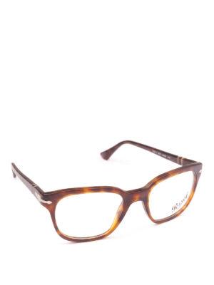 PERSOL: Occhiali - Occhiali da vista quadrati tartarugati avana