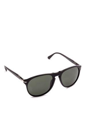 PERSOL: occhiali da sole - Occhiali aviator scuri con montatura nera