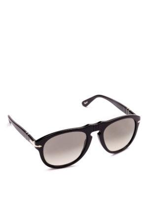 PERSOL: occhiali da sole - Occhiali aviator neri con lenti scure sfumate