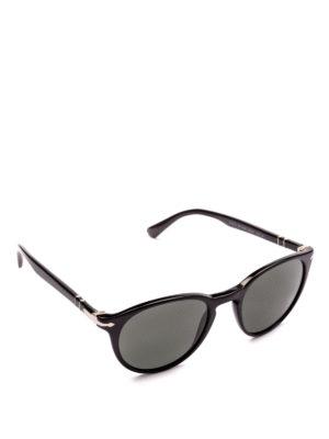 PERSOL: occhiali da sole - Occhiali con montatura ovale in acetato nero