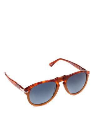 PERSOL: occhiali da sole - Occhiali aviator arancio con lenti blu