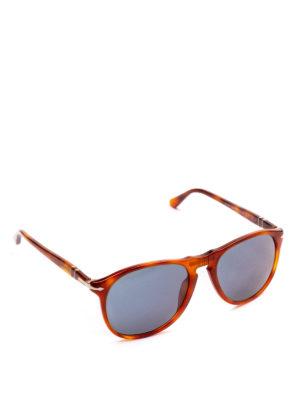 PERSOL: occhiali da sole - Occhiali aviator scuri con montatura arancio