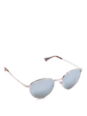 PERSOL: occhiali da sole - Occhiali blu con montatura ovale argentata
