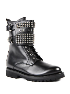 Philipp Plein: ankle boots online - Clary studded leather booties