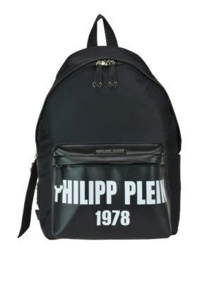 PHILIPP PLEIN: zaini - Zaino nero 1978 in nylon e eco pelle