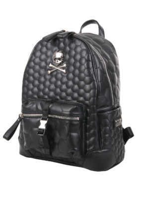 Philipp Plein: backpacks online - Quilted faux leather backpack