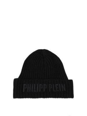 PHILIPP PLEIN: berretti - Berretto in lana nera Alcan