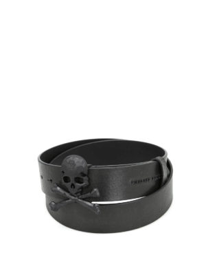 Philipp Plein: belts - Andover-1 vintage leather belt