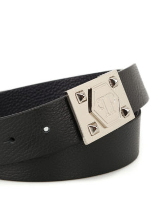 Philipp Plein: belts online - Menthos black grained leather belt