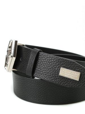 Philipp Plein: belts online - Shaoul logo buckled leather belt