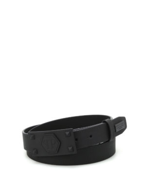 Philipp Plein: belts - Rich Two matte leather belt