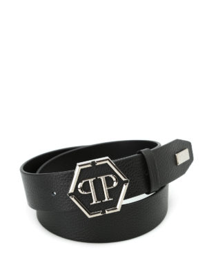 Philipp Plein: belts - Shaoul logo buckled leather belt