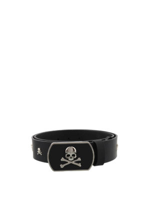 Philipp Plein: belts - So Fine leather belt with skulls