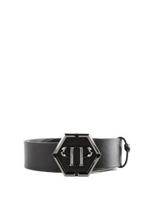 PHILIPP PLEIN: cinture - Cintura Stanislav in pelle nera