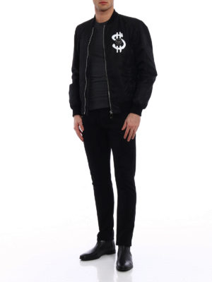 Philipp Plein: bombers online - Red black nylon bomber jacket