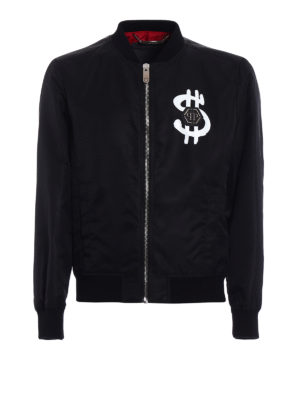 Philipp Plein: bombers - Red black nylon bomber jacket