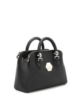 Philipp Plein: bowling bags online - Windy leather bowling bag