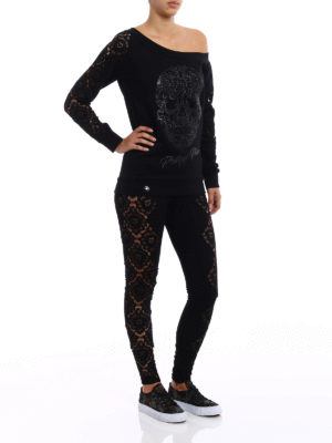 Philipp Plein: casual trousers online - Portio jersey and lace trousers