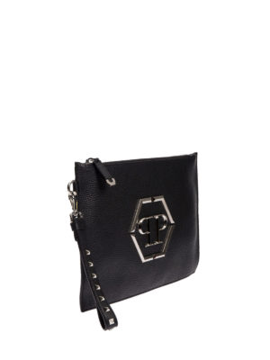 Philipp Plein: clutches online - Poyel leather clutch