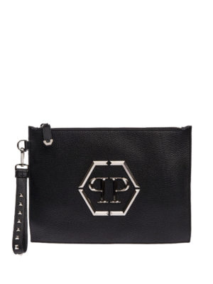 Philipp Plein: clutches - Poyel leather clutch