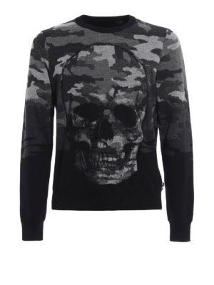 Philipp Plein: crew necks - Day wool blend crew neck pullover