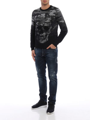 Philipp Plein: crew necks online - Day wool blend crew neck pullover