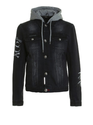 Philipp Plein: denim jacket - Dust hooded denim jacket