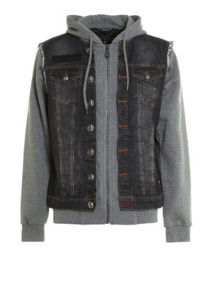 Philipp Plein: denim jacket - Mirrow denim and jersey jacket