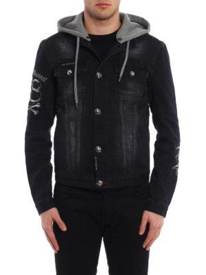 Philipp Plein: denim jacket online - Dust hooded denim jacket