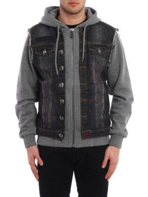 Philipp Plein: denim jacket online - Mirrow denim and jersey jacket