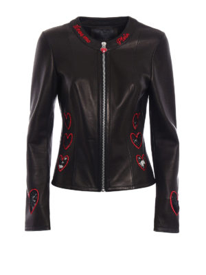 Philipp Plein: leather jacket - Elgin lace hearts leather jacket