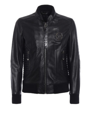 Philipp Plein: leather jacket - Exagonal biker leather jacket