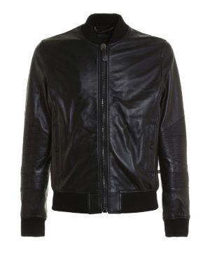 Philipp Plein: leather jacket - Grenade leather bomber