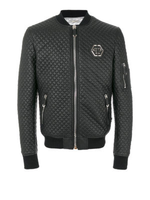Philipp Plein: leather jacket - Hirobumi quilted leather bomber