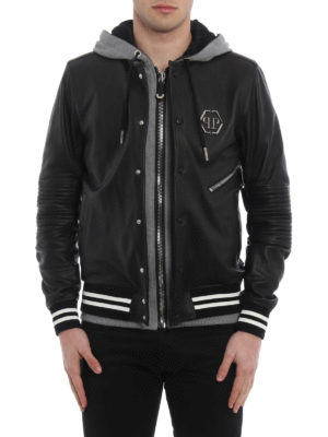 Philipp Plein: leather jacket online - East leather jacket