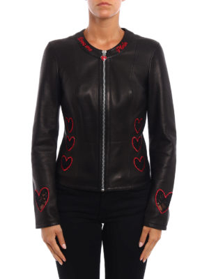 Philipp Plein: leather jacket online - Elgin lace hearts leather jacket