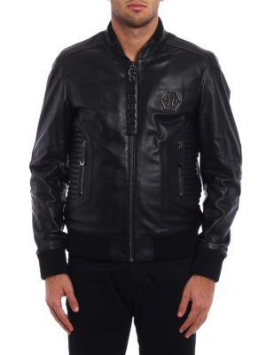 Philipp Plein: leather jacket online - Exagonal biker leather jacket
