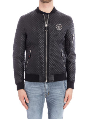Philipp Plein: leather jacket online - Hirobumi quilted leather bomber