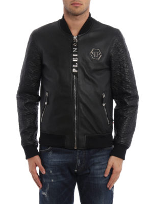 Philipp Plein: leather jacket online - Sensei leather bomber jacket