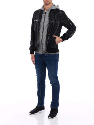 Philipp Plein: leather jacket online - Urban double front leather jacket