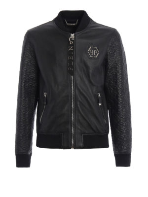 Philipp Plein: leather jacket - Sensei leather bomber jacket