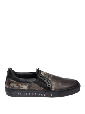 Philipp Plein: Loafers & Slippers - Camouflage print leather slip-ons