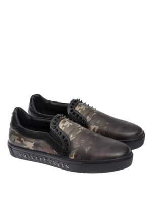 Philipp Plein: Loafers & Slippers online - Camouflage print leather slip-ons