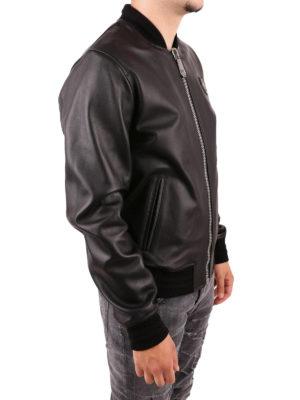 PHILIPP PLEIN: giacche in pelle online - Bomber in pelle Someone con maxi ricamo