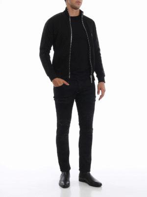 PHILIPP PLEIN: jeans skinny online - Jeans Camou neri in denim effetto usato