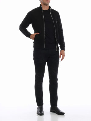 PHILIPP PLEIN: Felpe e maglie online - Felpa Black Band con zip intera in cotone