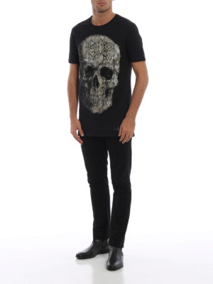 PHILIPP PLEIN: t-shirt online - T-shirt Black Cut-Python skull con strass