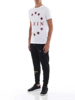 PHILIPP PLEIN: t-shirt online - T-shirt bianca con motivo stelle in eco pelle