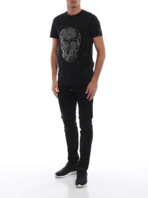 PHILIPP PLEIN: t-shirt online - T-shirt con teschi di strass Push It