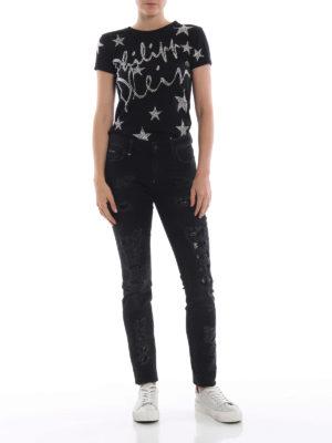 PHILIPP PLEIN: t-shirt online - T-shirt nera brillante Stars in Plein